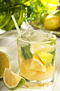 Glass of home made lemonade splash with slices of lemon - CSTF000367