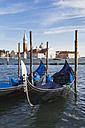 Italy, Veneto, Venice, View to Church San Giorgio Maggiore, Canale di San Marco, Gondolas - GWF003313