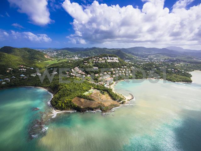 Caribbean, St. Lucia, Choc Bay, aerial photo of Calabash Cove Resort - AMF002663