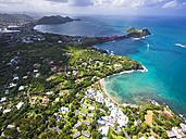 Caribbean, St. Lucia, Cap Estate, Cottan Bay Village, aerial photo of Smugglers Cove Resort - AMF002655