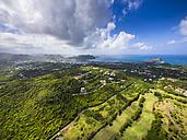 Caribbean, St. Lucia, Cap Estate, Cottan Bay Village, aerial photo of Plantation Bay Region - AMF002646