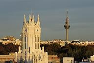 Spain, Madrid, city center, Palacio de Comunicaciones and Torre Espana television tower - MIZ000612