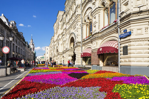 Russia, Central Russia, Moscow, Red Square, GUM department store, Flower bed - FOF006815