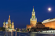 Russia, Central Russia, Moscow, Red Square, Saint Basil's Cathedral, Kremlin Wall, Kremlin Senate, Senate Tower, Spasskaya Tower and Lenin's Mausoleum at night - FOF006831