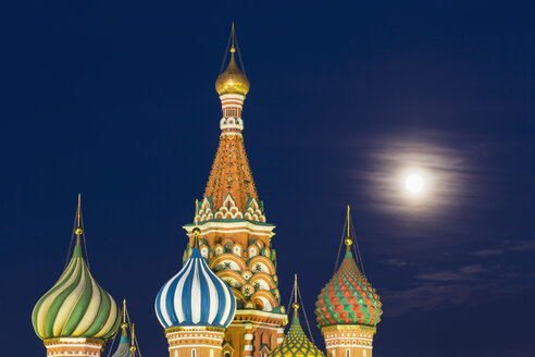 Russia, Central Russia, Moscow, Red Square, Saint Basil's Cathedral, Onion spires at night - FOF006832