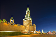Russia, Moscow, view to Spasskaya Tower and Kremlin wall at Red Square by night - FOF006870