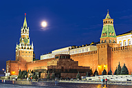 Russia, Moscow, view to Spasskaya Tower, Lenin Mausoleum, Kremlin Senate and Kremlin wall by night - FOF006851