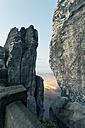Germany, Saxony, Elbe Sandstone Mountains, view from Bastei Bridge to Rathen - MSF004103