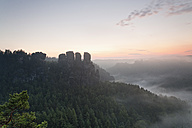 Germany, Saxony, view to Gansfels at Elbe Sandstone Mountains in morning mist - MS004105
