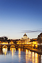 Italy, Rome, St. Peter's Basilica and Ponte Sant'Angelo in the evening - GW003119