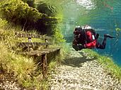 Austria, Styria, Tragoess, lake Gruener See, diver in front of a park bench - YRF000050