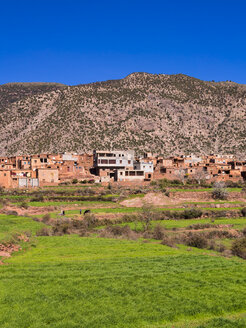 Morocco, Marrakesh-Tensift-El Haouz, Atlas Mountains, Ourika Valley, Village Anammer, Loam houses - AM002723