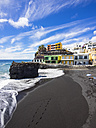 Spain, Canary Islands, La Palma, Puerto Naos, Black lava beach - AMF002721