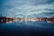 Germany, Hamburg, Inner Alster and Alster fountain at night - KRP001009