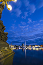 Germany, Hamburg, Inner Alster and Alster fountain at night - KRPF001012
