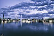 Germany, Hamburg, Inner Alster and Alster fountain in the evening - KRPF001017