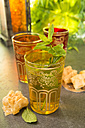 Turkish Peppermint Tea in a glass with fresh peppermint - CSTF000395