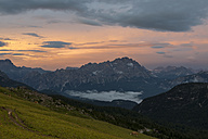 Italy, Veneto, Province of Belluno, Cortina d'Ampezzo at sunset - MKFF000112