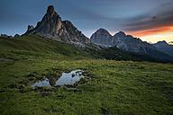 Italy, Veneto, Province of Belluno, Giau Pass, Monte Nuvolau at sunrise - MKFF000114