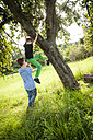 Boy helping his friend to climb down a tree - PAF000881