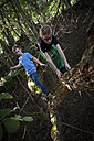 Two boys balancing on a deadwood in the forest - PAF000874
