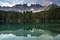 Italy, South Tyrol, Lake Karersee and Latemar group - MKFF000121