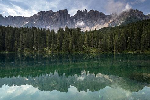 Italy, South Tyrol, Lake Karersee and Latemar group - MKFF000121