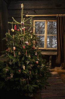 Decorated Christmas tree standing in a farmhouse - HHF004856
