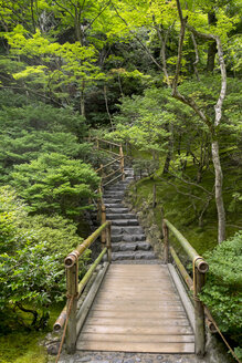 Japan, Kyoto, wooden bridge and stairs in the garden of Ginkaku-ji - HL000724
