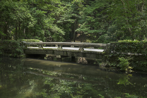 Japan, Kyoto, stone bridge in the garden of Honen-in temple - HLF000726