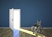 Wheelchair and sunlight shining through open door, 3d rendering - ALF000194
