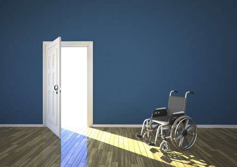Wheelchair and sunlight shining through open door, 3d rendering - ALF000194