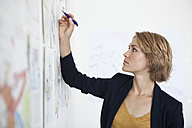 Portrait of young woman looking at a wall with concepts in an office - RBF001852