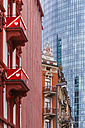 Germany, Hesse, Frankfurt, view to old buildings at red light district in front of modern office building - WDF002578