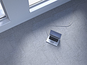 Wired laptop on concrete floor, 3D Rendering - UWF000164