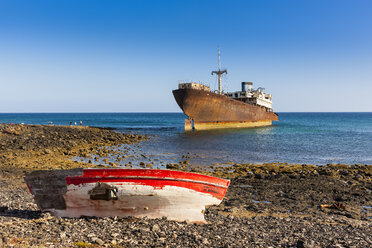 Spain, Canary Islands, Lanzarote, Arrecife, Punta Chica, Ship wreck Telamon, old wooden boat - AMF002768