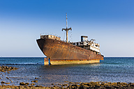 Spain, Canary Islands, Lanzarote, Arrecife, Punta Chica, Ship wreck Telamon - AMF002770