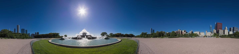 USA, Illinois, Chicago, Millennium Park with Buckingham Fountain, 360 degree panorama - FO006880