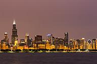 USA, Illinois, Chicago, Skyline and Lake Michigan at night - FOF007223