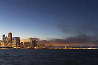 USA, Illinois, Chicago, Skyline and Lake Michigan in the evening light - FOF007230