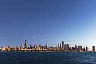 USA, Illinois, Chicago, Skyline, Willis Tower and Lake Michigan, Blue hour - FOF007235