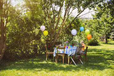 Party table in garden with little boy - MFF001236