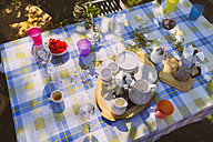 Glasses, cups and espresso can on garden table - MFF001280