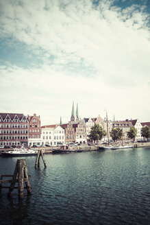 Germany, Schleswig-Holstein, Luebeck, old town, Museum harbour and Saint Mary's Church in the background - KRPF001032