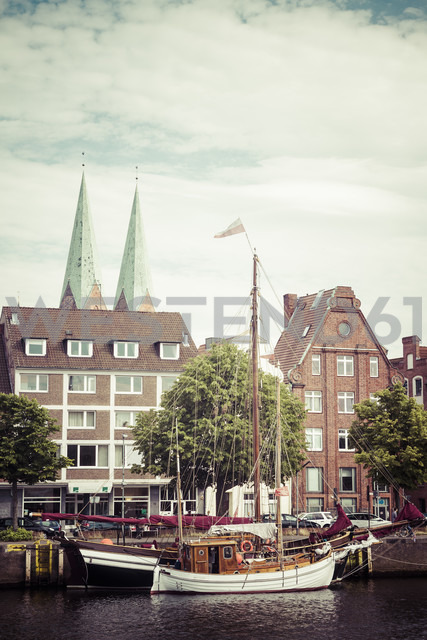 Germany, Schleswig-Holstein, Luebeck, old town, Museum harbour at Trave river - KRPF001048