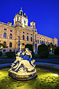 Austria, Vienna, Maria-Theresien-Platz, Museum of Art History and fountain in the evening - PUF000058