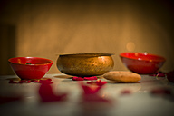 Morocco, Fes, Hotel Riad Fes, bowls and rose petals - KMF001456