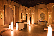 Morocco, Fes, Hotel Riad Fes, lighted lounge by night - KMF001461