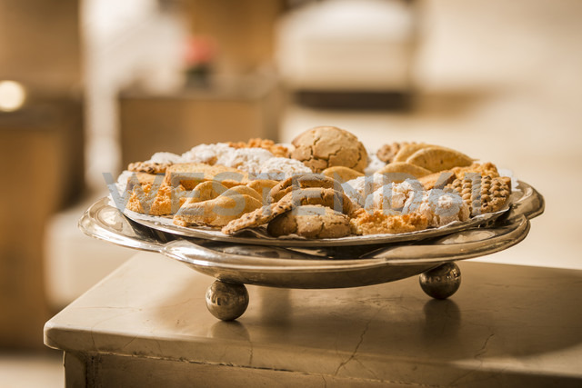 Morocco, Fes, Hotel Riad Fes, plate of different cookies - KMF001471