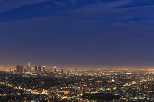 USA, California, Los Angeles, Skyline in the evening - FOF006939